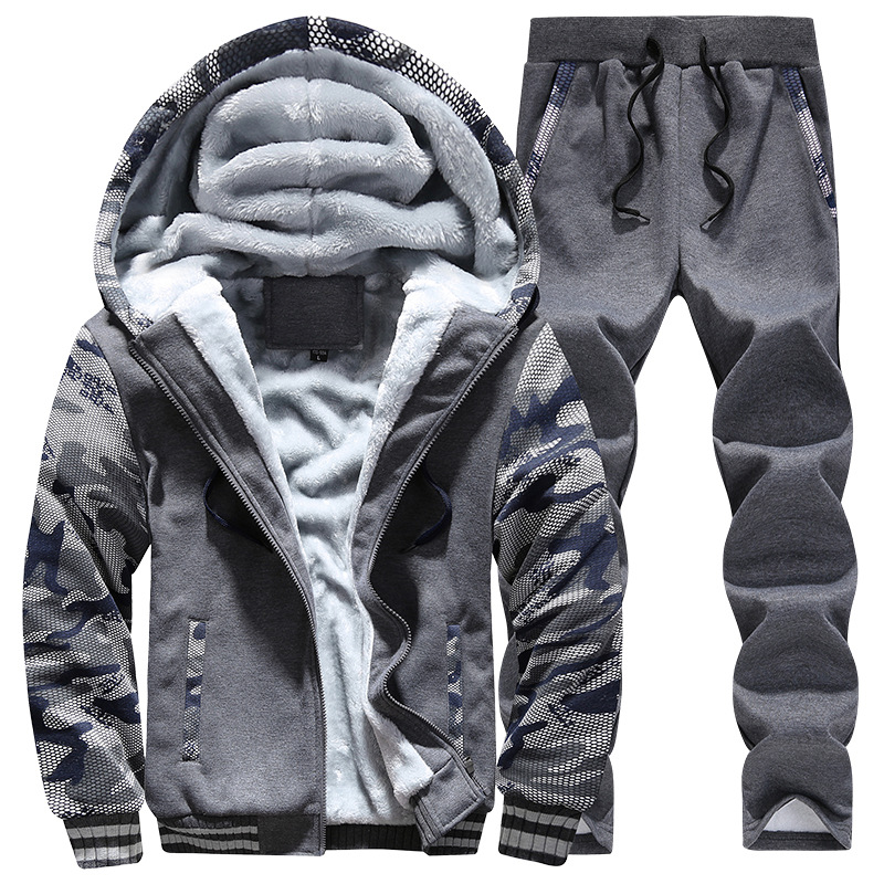 Mens Hoodies Sets Warm Men Sport Suit Gym Clothing Camouflage Sleeves Fleece Lining Sportswear Hooded Running Jogging Suits