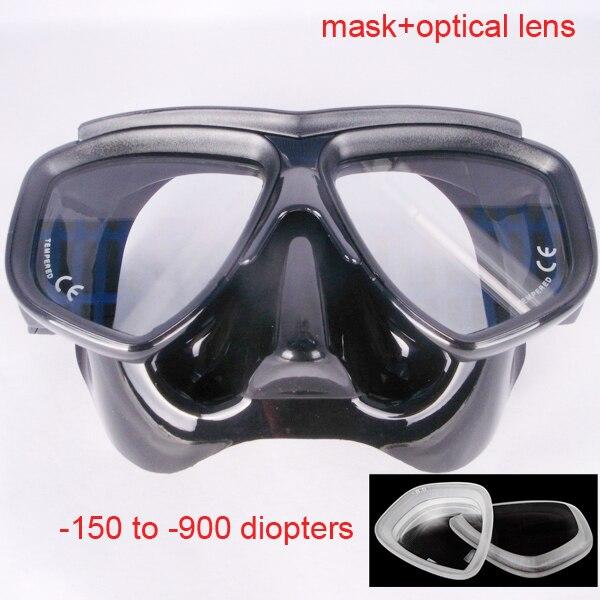 Máscara de buceo negra de volumen Ultra bajo máscara de buceo para adultos máscara de cristal templado óptico máscara de buceo y silicona flexible snorkel set