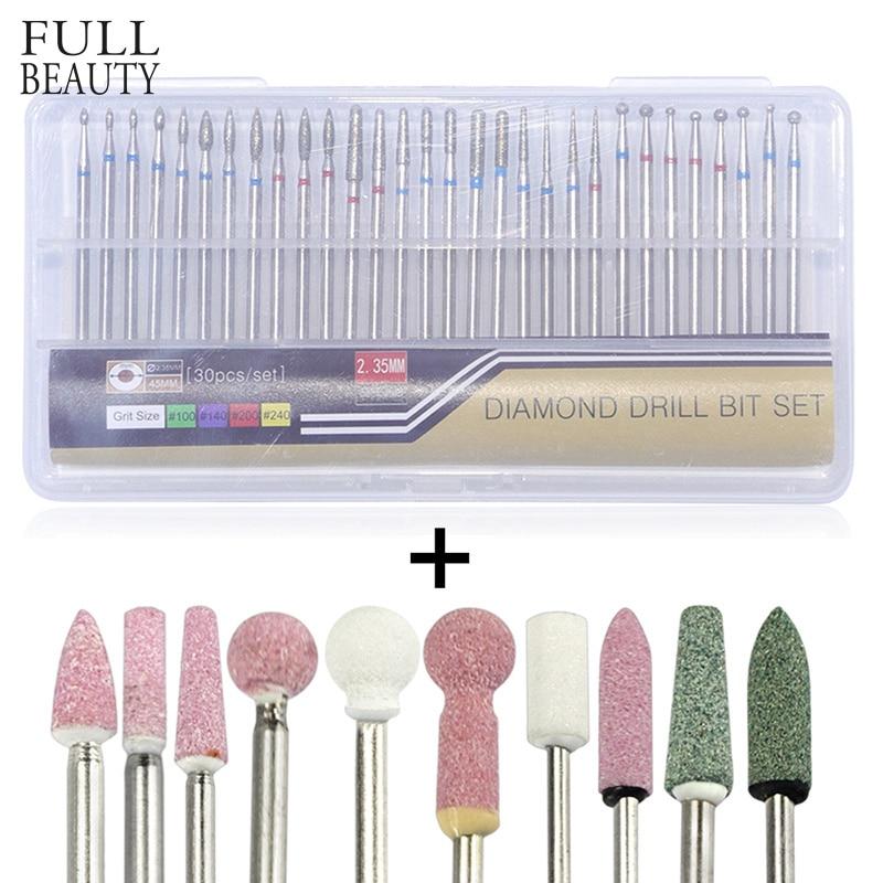 Full Beauty 40pcs Diamond+Ceramic Stone Milling Cutter Sets Nail Drill Bit Accessory Electric Manicure Salon Nail Files CH061