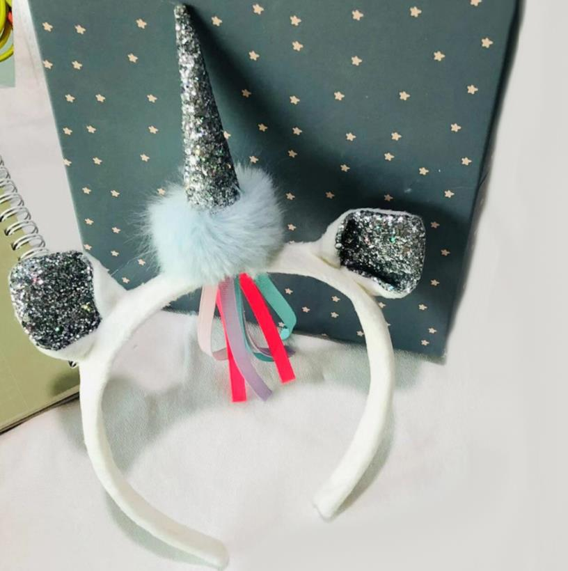 New High Quality Hand Made Fashion Unicorn Hair Accessories Girls Glitter velvet Hairband Party Headbands headdress K14 in Hair Accessories from Mother Kids