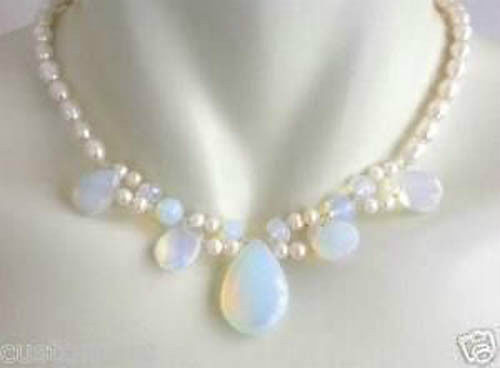 Beautiful pearl and opal necklace Noble style Natural Fine jewe  4.28