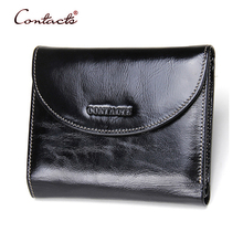 CONTACT'S Men Wallet Genuine Leather Vintage Clutch Male Wallets Oil Wax Leather Purses Crad Holder Coin Pocket Purse 2017 New