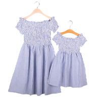 Mother And Daughter Dress Family Matching Outfits 2017Summer Mom Daughter Clothes Fashion Striped Dress Family Matching