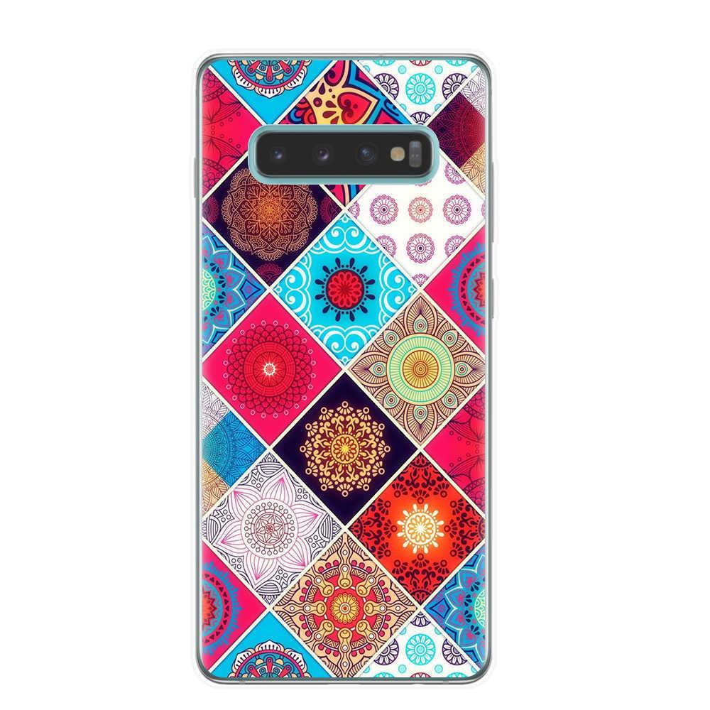 Mạn đà la Hoa Mềm TPU Ốp Lưng Điện thoại Samsung Galaxy S10e S6 S7 Edge S8 S9 10 Plus M10 M20 M30 rõ ràng Ốp Lưng Silicone Coque