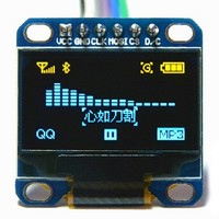 Free Shipping 10pcs Yellow, blue double color 6pin 128X64 OLED LCD LED Display Module 0.96 I2C IIC SPI Communicate