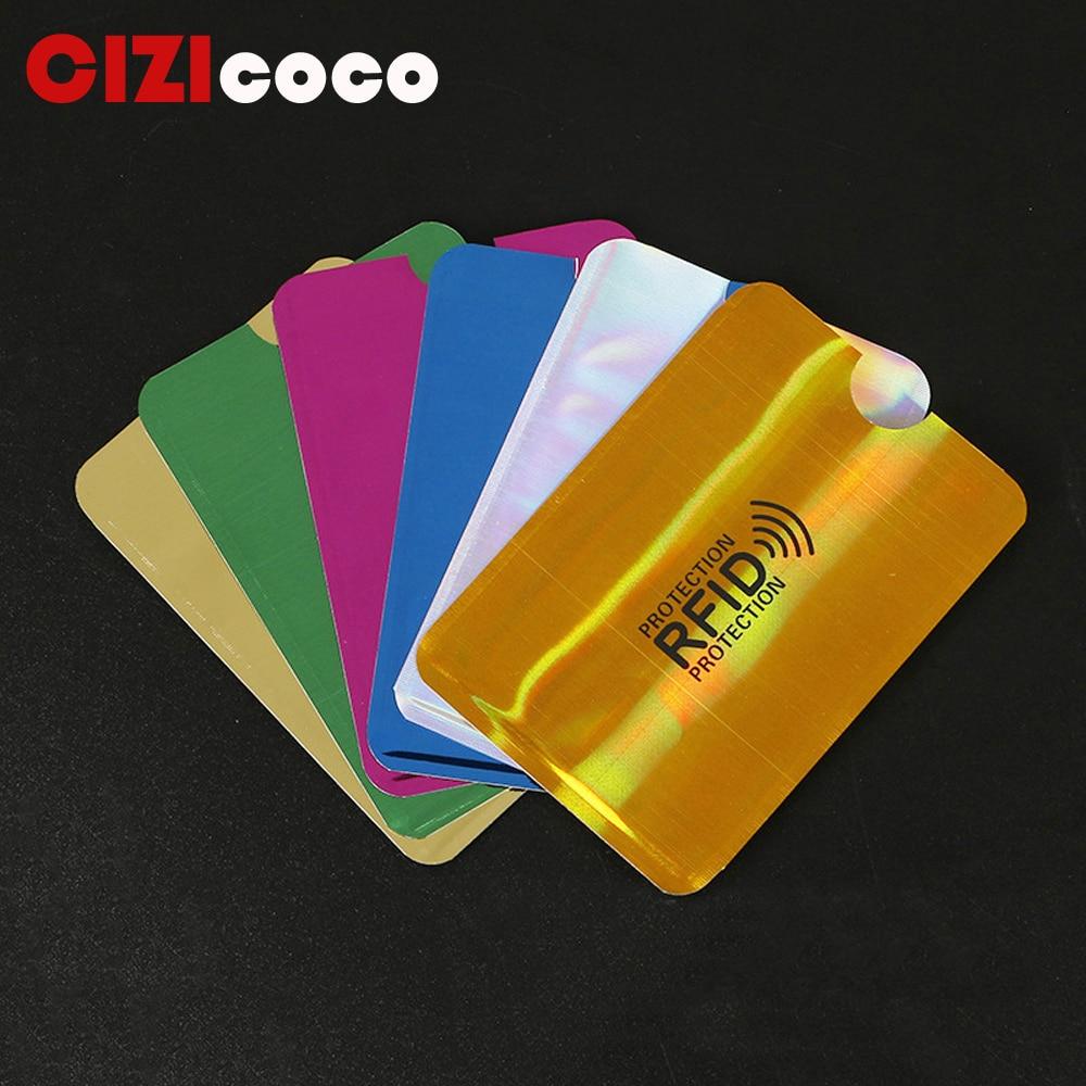 2PC New Aluminum Anti Rfid Reader Blocking Bank Credit Card Holder Protection New Rfid Card Reader Metal Credit Card Holder