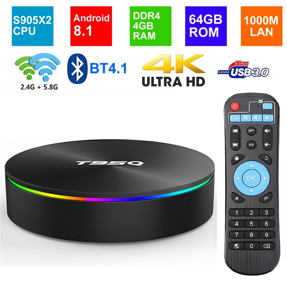 Android 8.1 Smart TV BOX T95Q DDR4 4GB RAM 64G ROM Amlogic S905X2 Quad core 2.4G/5G Dual WIFI BT4.1 1000M USB3.0 4K Media Player