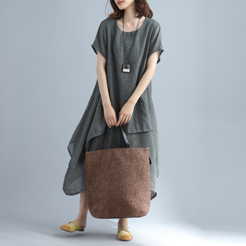 05d3efb95954 P Ammy 2018 Lagenlook Cotton   Linen Elegant Solid Color Long Linen Dress  Summer casual dress Plus Size O Neck A Line Dress-in Dresses from Women s  Clothing ...