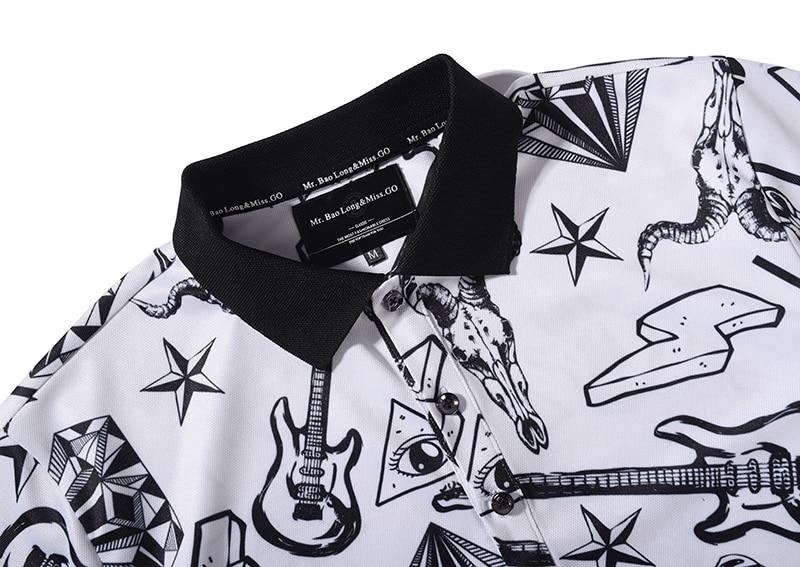 8e0e0729 Aliexpress.com: Comprar Camisetas Polo estampadas 3D oferta Moda Hombre  2017 Summe manga corta Polo Hombre blanco negro pintado a mano patrón  ajustado Fit ...