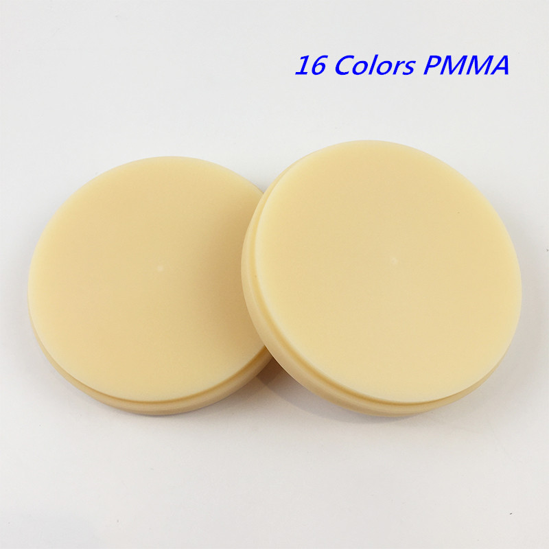 8 Pieces 18 Colors PMMA Discs Dental CAD/CAM PMMA Blocks OD98*10mm~16mm for Temporary Crowns and Bridge Restoration