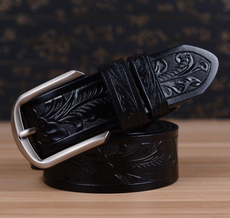 Новейший мужской ремень роскошные ремни из коровьей кожи для мужчин винтажные классические ремни с пряжкой из сплава коричневого цвета Прямая поставка - Цвет: Черный