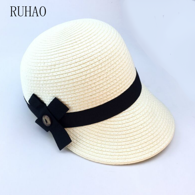 RUHAO Summer Hat For Women sun visor hat Equestrian Kentucky Derby Hats Beach Cap floppy bucket summer korean women