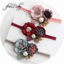 Изысканная повязка на голову с цветочным принтом для девочек; нейлоновая повязка на голову; эластичная повязка на голову