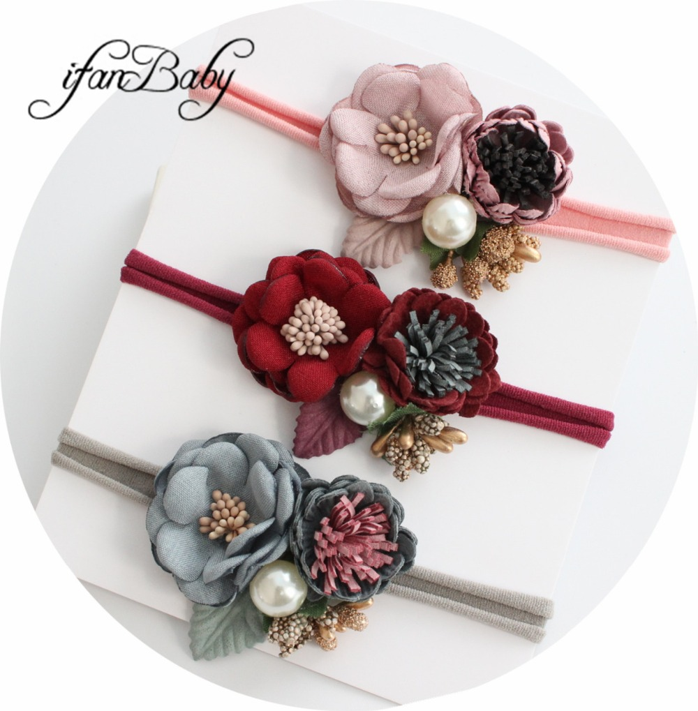 Boutique Flower Headband Kids Girl Nylon Headband Elastic Strench Headwear
