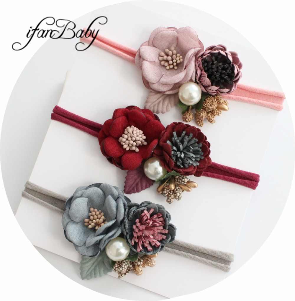Diadema elástica con flor de Boutique para niña y niño, diadema de nailon