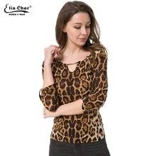 Blouse Women Tops 2017 Half Sleeve Women Shirt Elia Cher Plus Size Casual Women Clothing Lady Leopard Print Blouses Blusas 8231