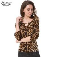 Mulheres Camisa blusa Mulheres Tops Meia Manga Elia Cher Plus Size Casual Roupas Femininas Senhora Da Cópia do Leopardo Blusas Blusas 8231