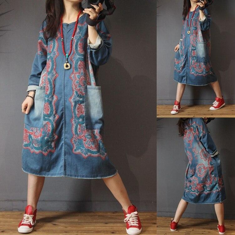 Printemps automne décontracté all-match Ultra lâche grande taille Vintage poches imprimer robes en Denim