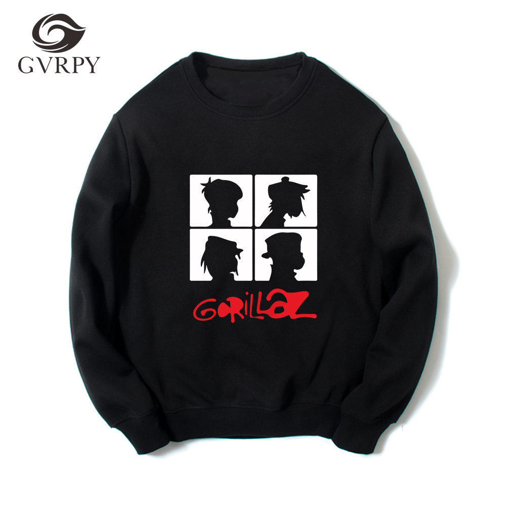 New Music Gorillaz Sweatshirts Men Autumn Winter Gorillaz Hoodies Long Sleeve O-Neck Pullover Harajuku High Quality Hoodies