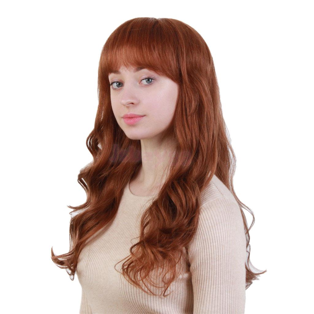 Light Brown Human Hair Wigs Long Curly Body Wavy Layered Wig for Women long side bang colormix layered wavy synthetic wig