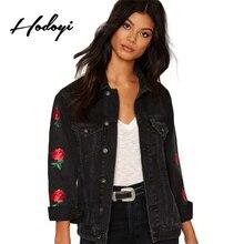Hodoyi цветочной вышивкой джинсовые пальто женщин с длинным рукавом одной кнопки женские пиджаки старинные отложной воротник куртки-бомберы