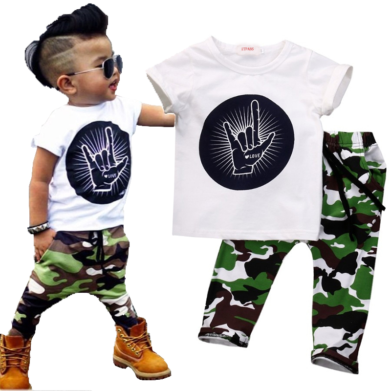 Stylish Infant Toddler Baby Kids Boys Outfits Babies Boy  Rock Gesture Tops T-shirt +Camouflage Pants Outfit Set Clothes 2pcs children outfit clothes kids baby girl off shoulder cotton ruffled sleeve tops striped t shirt blue denim jeans sunsuit set