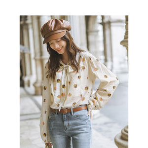 Image 3 - INMAN Spring Autumn Viscose Cotton Soft Print Pretty Lacing Literary Elegant Verstand Women Blouse