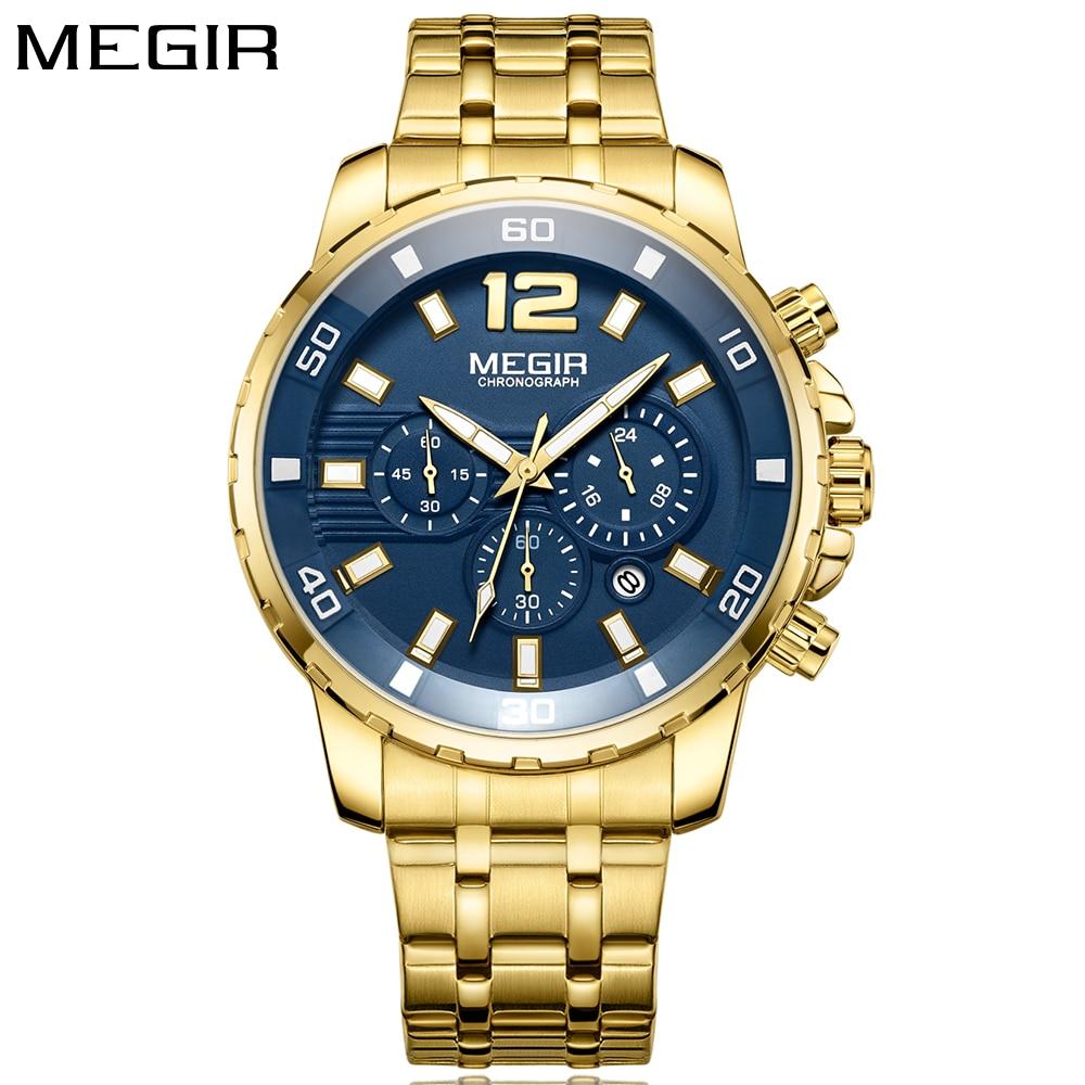 MEGIR New Luxury Men Watch Gold Top Brand Fashion Blue Quartz Watch Men Stainless Steel Men's Wrist Watches relojes hombre 2018 relojes full stainless steel men s sprot watch black and white face vx42 movement