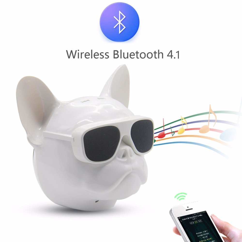 Mini Bulldog Portable Wireless Speaker With Bluetooth 4.1 Cellphone Sound Box FM Music Player(Operation mode Keystroke)