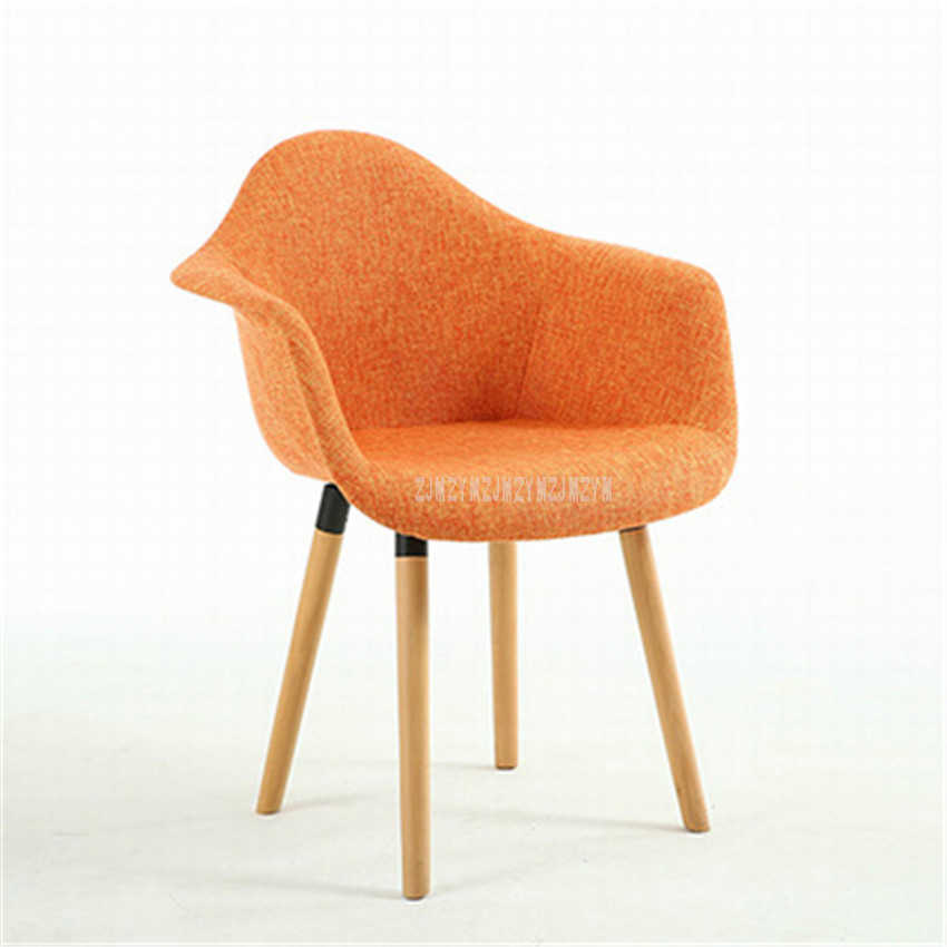 Modern Solid Wood Upholstered Dining Chair Arm Rest Backrest Fabric Soft Seat Custion Living Room Popular Loft Leisure Chair