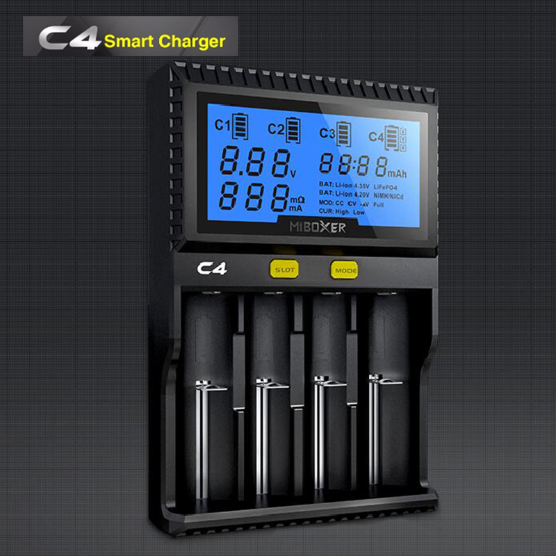 Miboxer 18650 Li-ion IMR INR ICR Lifepo4 Charger C4 Smart Universal USB Charger With LCD Screen Better Than C3100