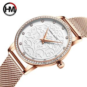 Image 4 - Women Rhinestones Watches Fashion White Flower 3D Engraving Dial Face Japan Movt Waterproof Top Luxury Brand Ladies Watches