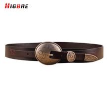 HIGBRE Vintage Genuine Leather Wide Belts For Women 2017 Luxury Designer Brand High Quality Belt Buckle Cinto Feminino Couro
