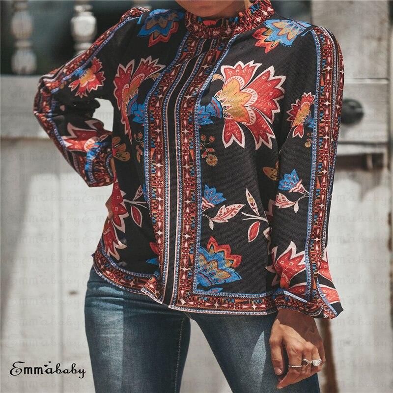 Women's Loose Vertical Collar Ethnic Long Sleeve Printed Casual   Blouse     Shirt   Tops Ladies Kimono Boho Casual   Blouse   Plus Size