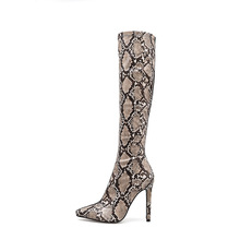 2019 New Fashion women boots Sexy Slim-heeled Women's Boots  Super High-heeled Serpentine Coloured Boots ankle boots for women chain design block heeled ankle boots