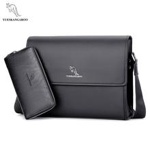 YUESKANGAROO Marke männer Taschen Aktentasche lässig männer umhängetasche A4 dokument leder männliche umhängetasche