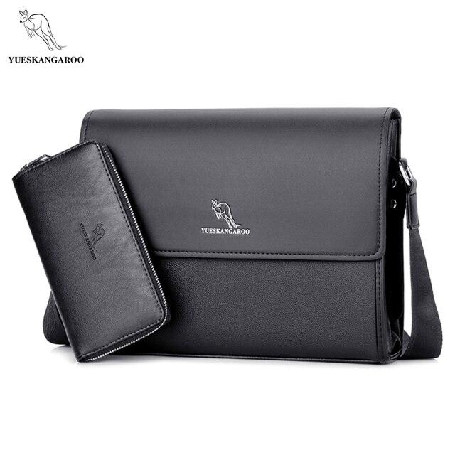 42625c5046b63 YUESKANGAROO Marka erkek Çanta Evrak Çantası rahat erkekler askılı çanta A4  belge deri erkek omuzdan askili