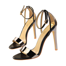 New Concise Peep Toe Buckle OL Office Shoes Women Sandals Fashion Solid Patent Leather High Heels Show Thin Brand Womens