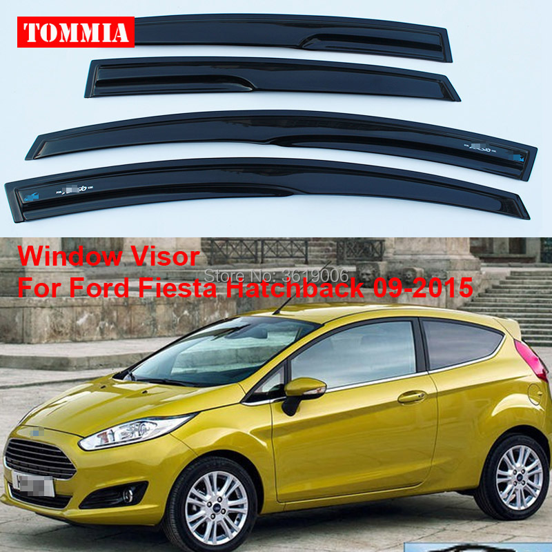 tommia 4pcs Window Visor Shade Vent Wind Rain Deflector Guards Cover For Ford Fiesta Hatchback 09-2015 2015 2017 car wind deflector awnings shelters for hilux vigo revo black window deflector guard rain shield fit for hilux revo