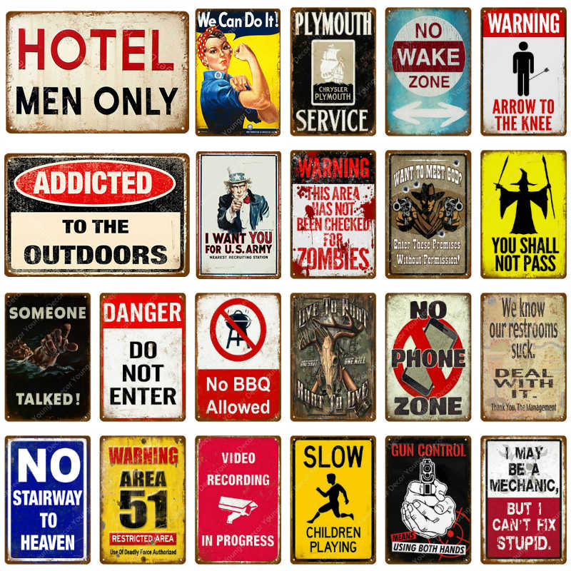 No Wake Zone Metal Tin Signs Danger Do Not Enter Vintage Wall Plate For Pub Bar Club Home Hotel Decor Retro Warning Poster