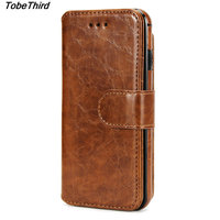 Oil Wax PU Leather Detachable 2 In 1 Wallet Folio Phone Cover Case For IPhone 7