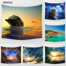Monily pintura escénica seawave sunset sailing poliester impreso colgar tapices de pared decoración yoga mat living room decoration