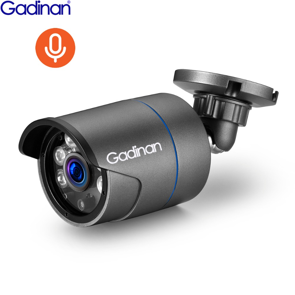 GADINAN HD 3MP 2304*1296 1080P 2.0MP H.265 Security CCTV Audio Sound Microphone Record Outdoor Onvif Bullet IP Camera 48V POE