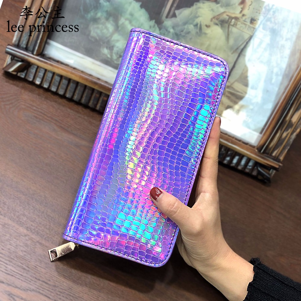 Lee Princess Holographic Wallets Female Long Money Bag Ladies Purse for Girls With Coin Purse Card Holders Women Wallet Hologram carteras love heart women girls coin purse wallet card holders comfystyle si 26d