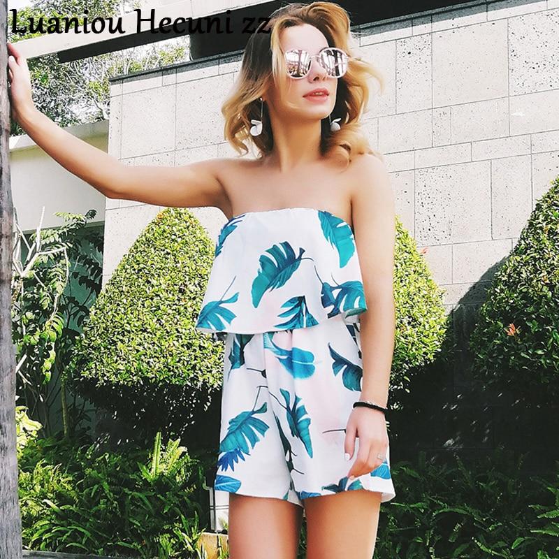 Women Dress Leaf Printed Off-Shoulder Ruffles Casual Beach Playsuits