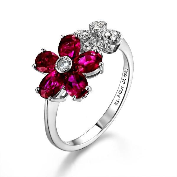 Luxury Flower Diamond Ring Gvbori 18k Gold Natural Ruby Gemstone