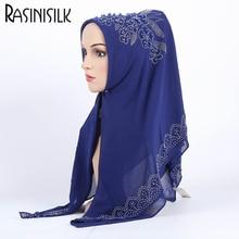 이슬람 패션 Hijabs 고품질 진주시 폰 스카프 꽃 장식 스카프 여성 목도리 101 * 102cm # M145