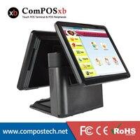 15 인치 금전 등록기 기계 코어 i3 터치 스크린 더블 모니터 모든 판매 소매 EPOS 시스