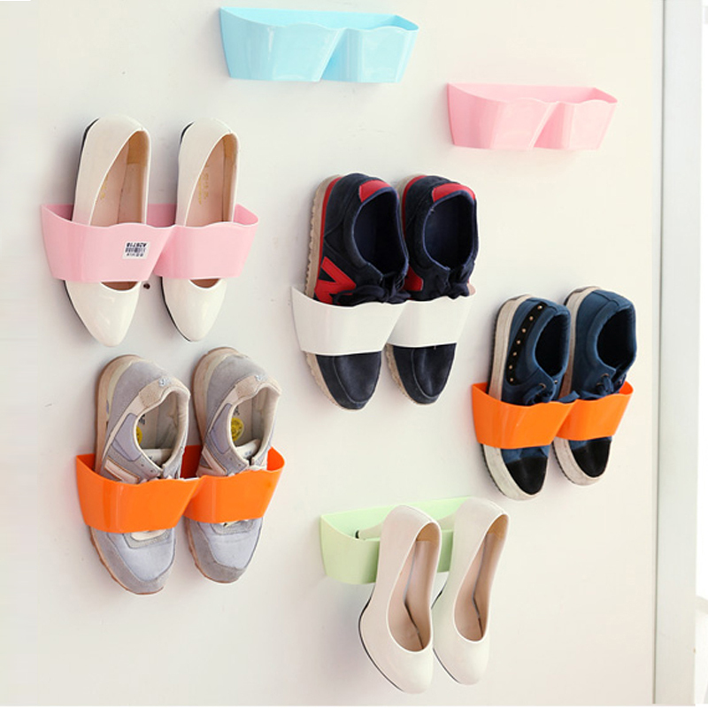 Creative Wall Mounted Shoe Racks Stand Wall Holder Shoes Cabinet Self -adhesive Divider Display Shelf Organizer Wall Rack