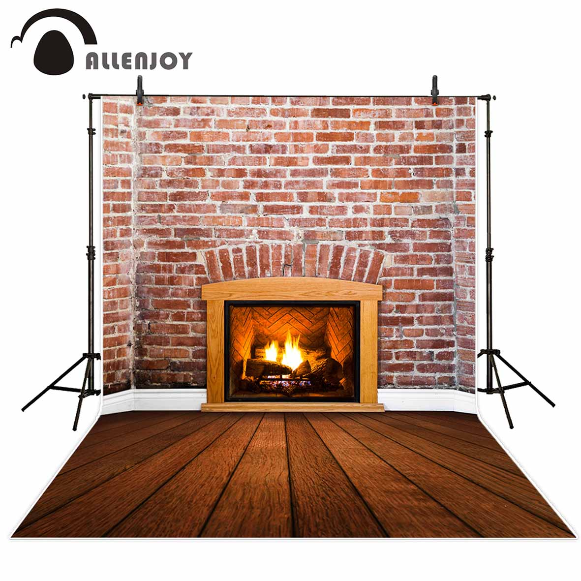 Allenjoy photography background Fireplace Brick Wall Wooden Floor Interior Christmas backdrop photo background studio allenjoy backdrop background wonderland